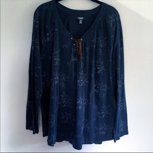 Chaps Navy Blue Long Sleeve Blouse